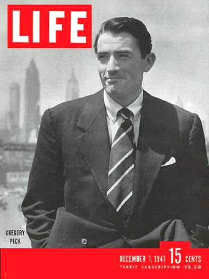 Life Magazine Cover Copyright 1947 Gregory Peck - Mad Men Art: The 1891-1970 Vintage Advertisement Art Collection