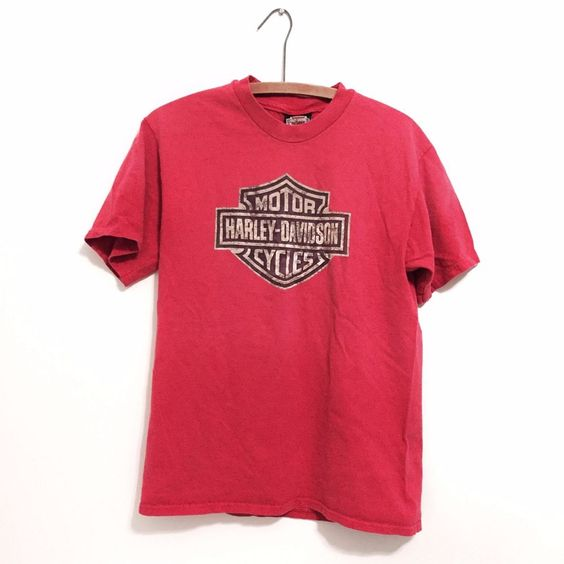 Vintage 90s Harley Davidson Graphic Tee Double Sided Red Size M