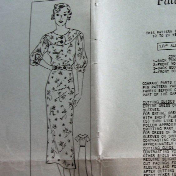 Vintage Womens Dress Pattern With Yoked Bodice Circa 1930 Sz18 Uncut