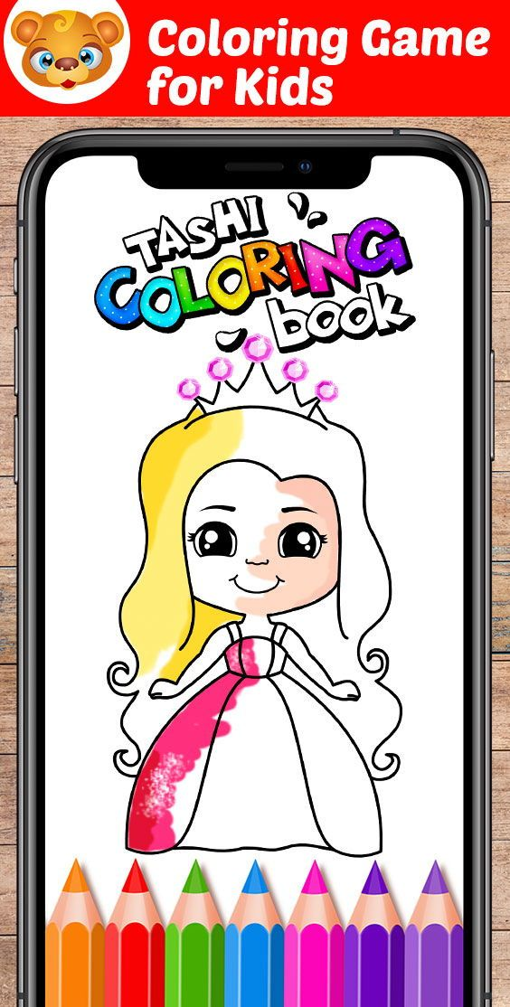 Tashi Coloring Book Coloring Game For Kids And Toddlers With Pictures Of Unicorn Princess Din Coloring Games For Kids Coloring Books Coloring Pages For Kids