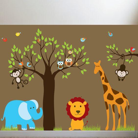 Jungle Safari Tree Monkeys Elephant Giraffe Vinyl Wall Art Decals Nursery Kids Boys. $185.00, via Etsy.