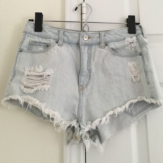 H&M Light Washed High Waisted Shorts In excellent condition. Worn once, too big on me. Feel free to make an offer. No Trades. H&M Shorts Jean Shorts