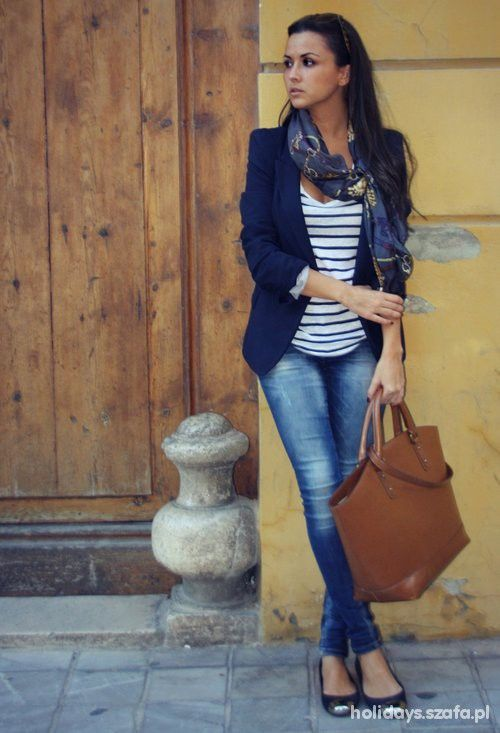 Blazer, stripes, & jeans... casual outfit style | Fashionista ...