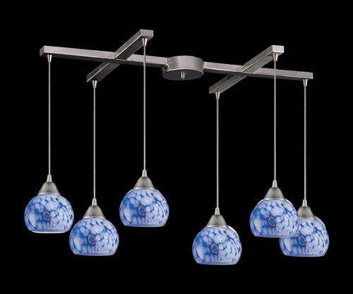 ELK Lighting 101-6Bl Six Light Pendant In Satin Nickel And Starlight Blue Glass