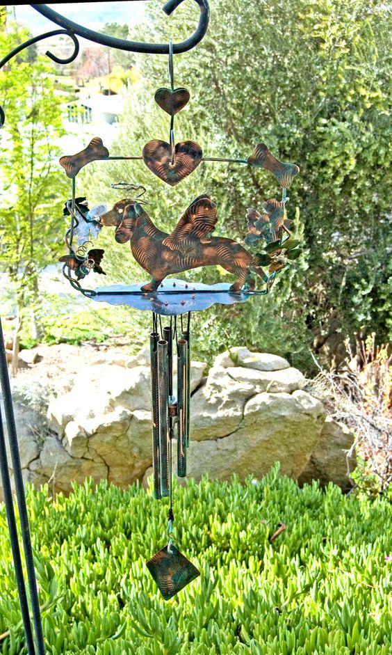 Dachshund Angel Pet Memorial Wind Chime / Garden Art / Metal Yard Art / Copper Patina / Dog Sculpture / Outdoor Decor / Pet Lover / Hanger by GardenCopperArt on Etsy