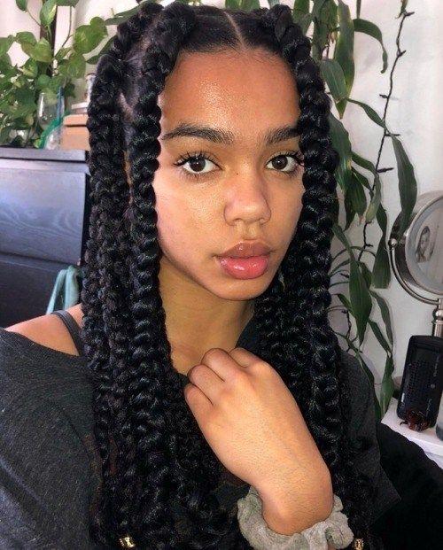 Jumbo Box Braids Tumblr Braids For Black Hair Braided Hairstyles For Black Women Braided Hairstyles