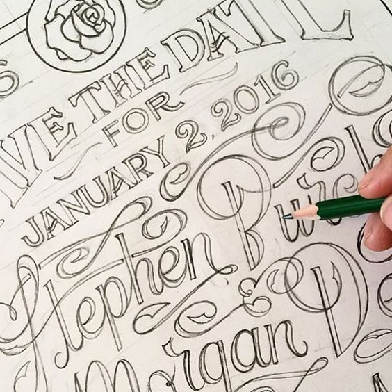 """Work in progress by @aaronmarks__  #goodtype #lettering #handletter #strengthinletters #sketch #wip #savethedate"""