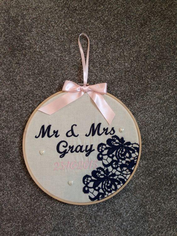 Personalised Wedding Gift Bride Groom Embroidered Hoop