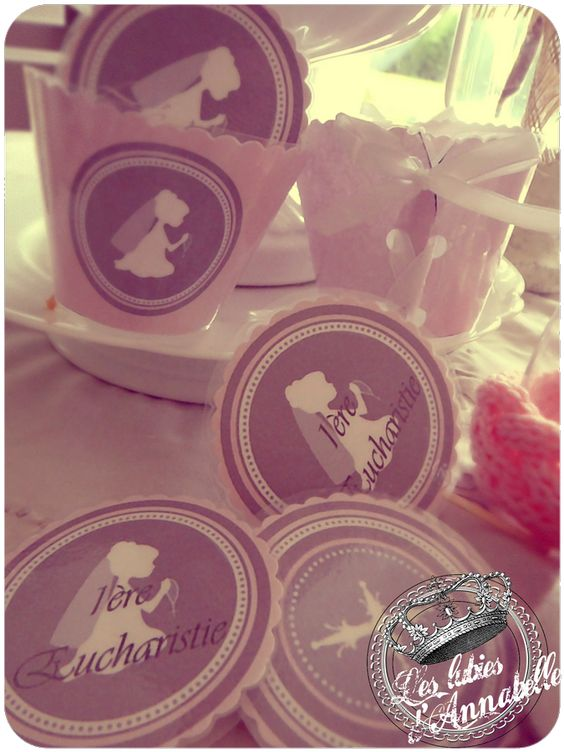 Cupcakes toppers 1ere communion fille d coration de for Idee deco 1ere communion