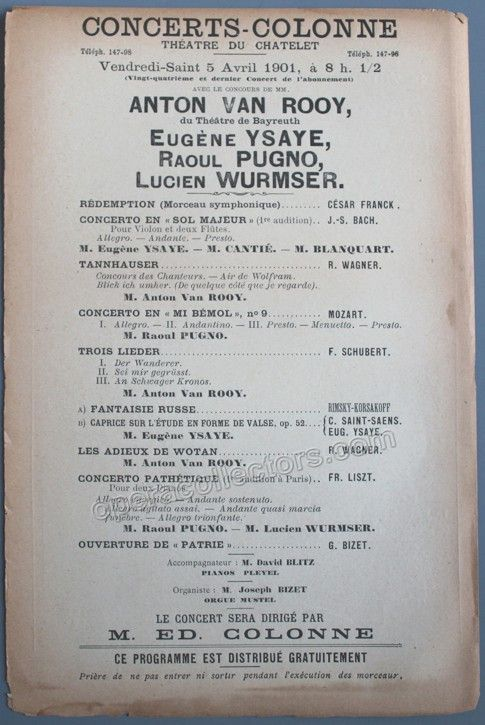 Ysaye Eugene  Pugno Raoul  Van Rooy Anton  Concert Program