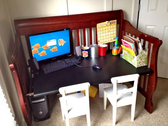 Crib turned into a desk afterwards.....genius!
