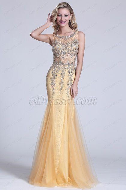 Trompete Ärmellos Perlen Illusion Prom Kleid (C36150714)