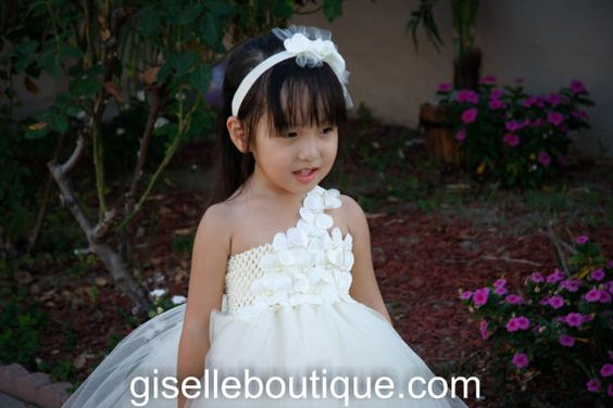 Flower girl dress. Ivory with Ivory hydrangeas by giselleboutique