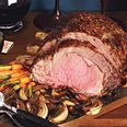 Mustard Seed Prime Rib with Roasted Balsamic Onions