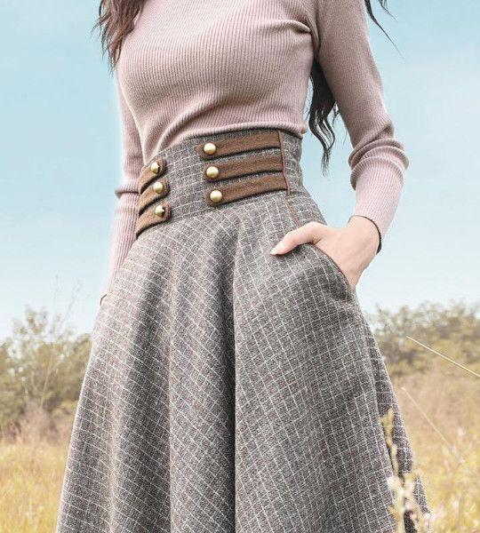 Boshow Long Woolen High Waist A Line Plaid Skirt Jeraldclinton Aline Boshow High Jeraldclinton Long Plaid Sk Mutevazi Kiyafetler Stil Mutevazi Moda