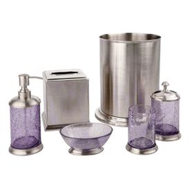 Lilac crackle glass and nickel bath accessories by for Crackle glass bathroom set
