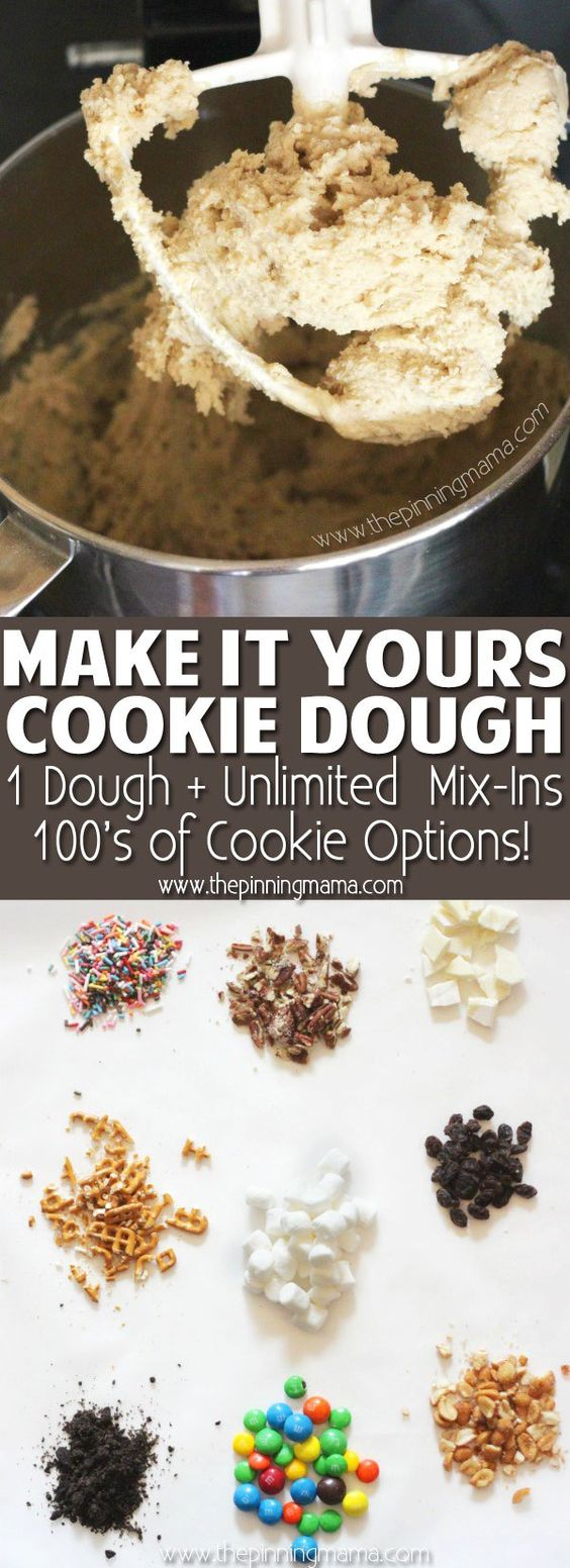 Add any mix-ins to this basic cookie dough recipe to make any flavor cookies your family loves! I usually split the dough in half or thirds and make different flavors each of my kids pick in just minutes. Such a fun way for kids to be creative in the kitchen!