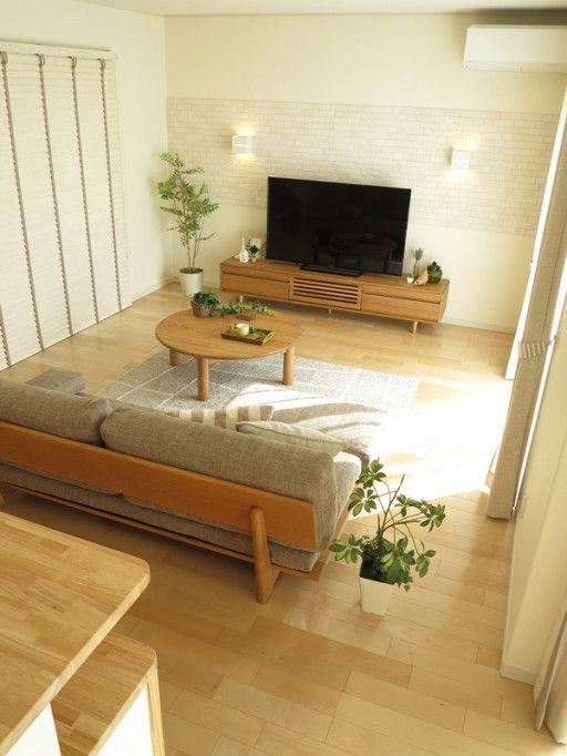メープル系の床にナチュラルな家具 カーテンを提案したナチュラルコーディネートを提案 インテリア 家具 寝室 インテリア アパート インテリア リビング ナチュラル