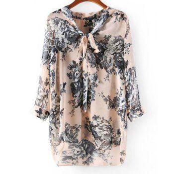 Stylish V-Neck Nine-Minute Sleeve Floral Print Self-Tie Chiffon Women's Blouse