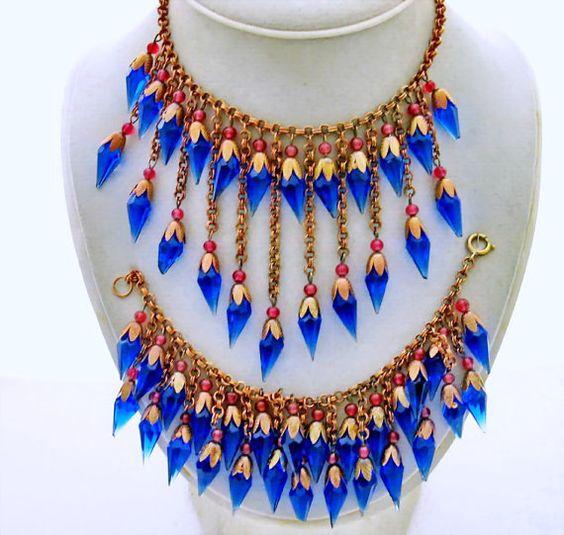 Vintage Art Deco Glass Bead Fringe Necklace, Bracelet, Blue Faceted Point Dangles