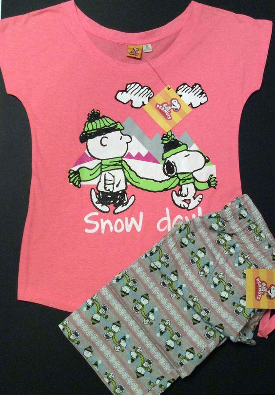 Primark Ladies Peanuts Snoopy Charlie Brown Pyjamas Set PJ's