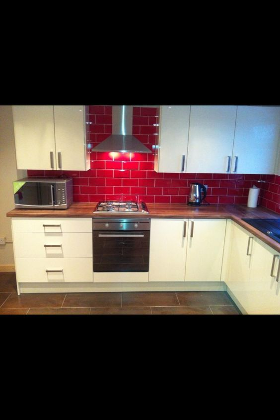 red tiles  For the Home  Pinterest  Red Tiles, Small Kitchens and