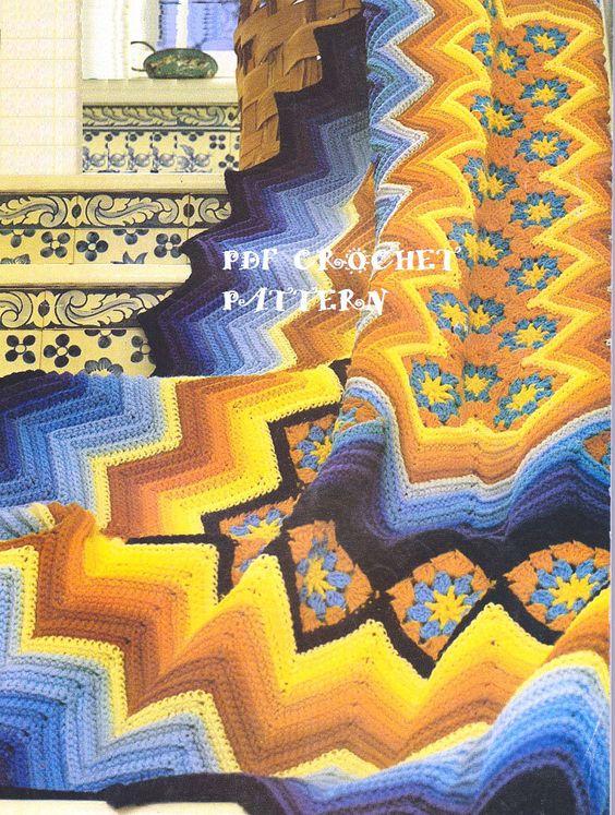 ☮ 💇🏼 ☮ Afegão em Croché Rippy Avó Clássica -  /  ☮ 💇🏼 ☮ Afghan on Vintage Crocheting Ripple  Granny -
