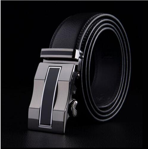 Luxury Men/'s Black Genuine Leather Belt Auto Lock Sliding Buckle Jeans Belts