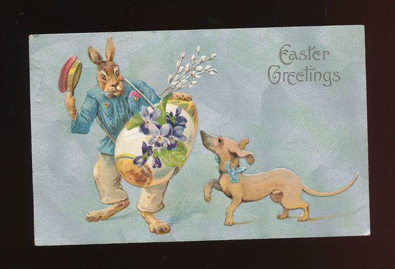 Dressed Rabbit & Dachshund Dog Antique Embossed Easter Postcard-kkk896