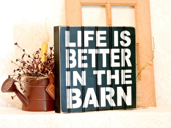 Life Is Better In The Barn - Primitive Country Painted Beadboard Box Sign, Farm Sign, Box sign, Farmhouse Decor, Beadboard, Ready to…