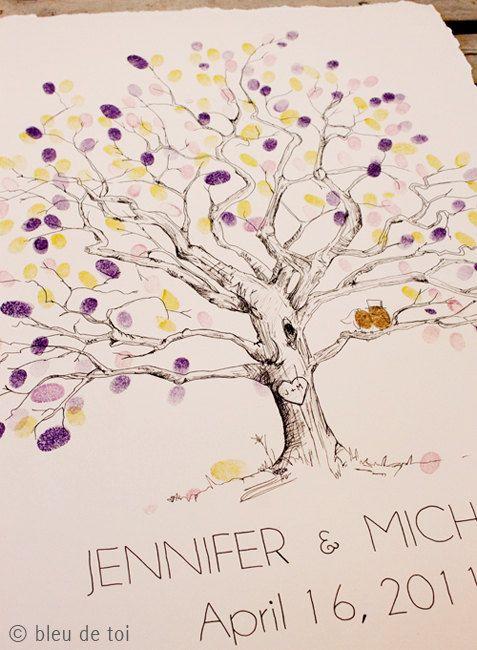 Livro de assinatura: árvore de digitais para casamento | Blog do Casamento - O blog da noiva criativa! | Convites e papelaria, Idéias criativas