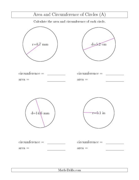 A bunch of worksheets for Area/Circumference wall of Remediation | Math (Intermediate) | Pinterest