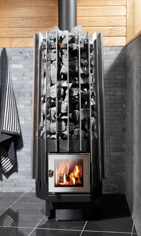 Rocher wood sauna stove by helo sauna pinterest for How to build a wood burning sauna stove