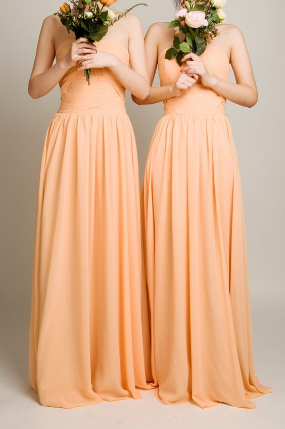 long peach orange bridesmaid dresses with pleated bodice 2015 #bridesmaiddresses