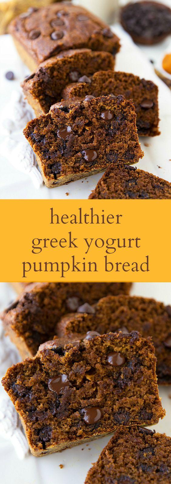 Greek yogurt pumpkin bread with lots of healthy swaps! pumpkin ...