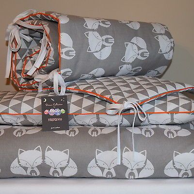 100%COTTON Cot Bed Duvet Cover Set Girls Boys Grey My Friend  Fox Orange  piping