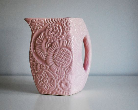 1940s Niloak Pottery Pitcher Pink Daisies Vintage by CalloohCallay