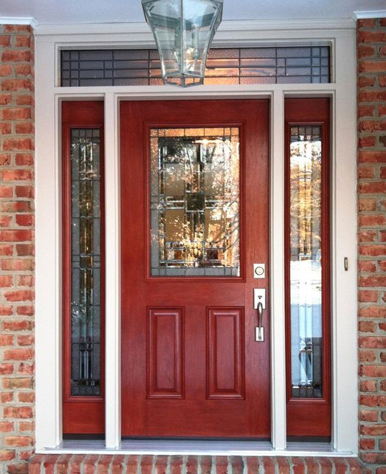 Entry door with sidelights entry doors and front entry on for Peachtree fiberglass entry doors
