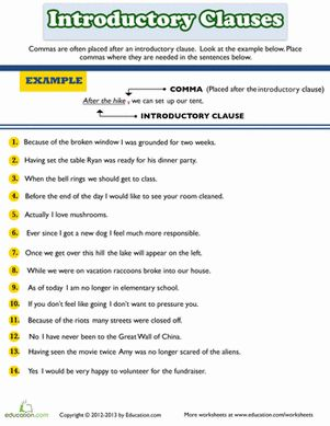 Printables Clauses And Phrases Worksheets introductory clause phrase or word words articles and worksheets word