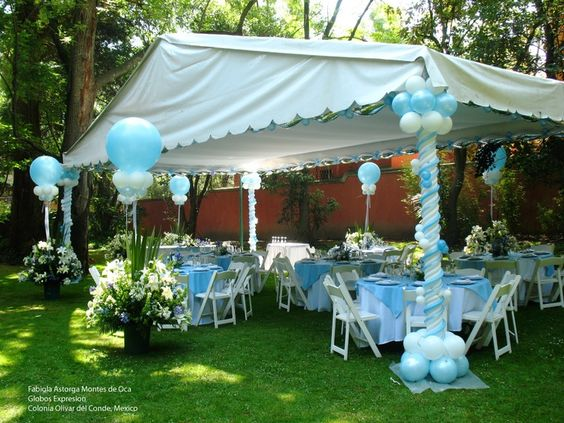 Tent and balloons on pinterest for Baby shower canopy decoration