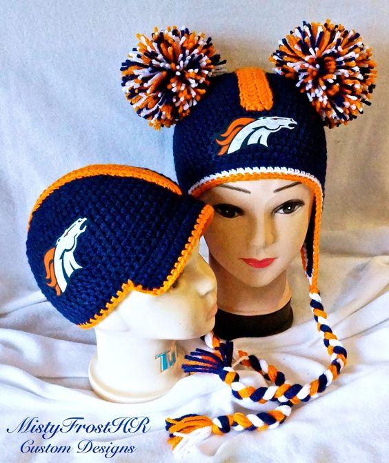 His & Hers Denver Broncos Spirit Wear - Crocheted Hats - NFL - $25 each - Get yours at www.facebook.com/MistyFrostHR