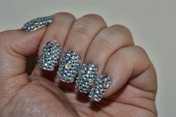 Silver Sparkly Rhinestone Nails