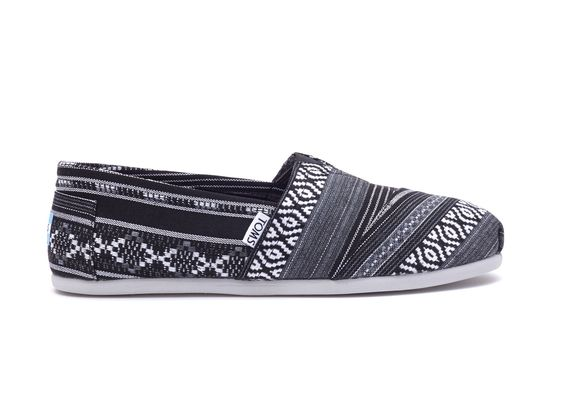 TOMS Men's Black and White Linear Woven Alpargatas