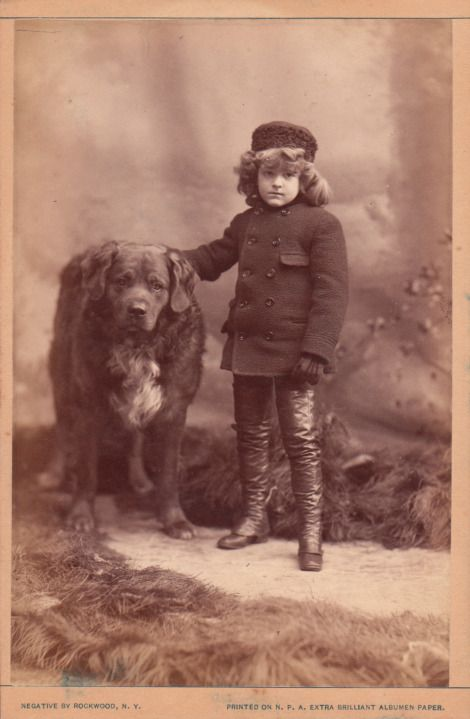 """Small Boy and Big Dog in New York City"" cabinet card."