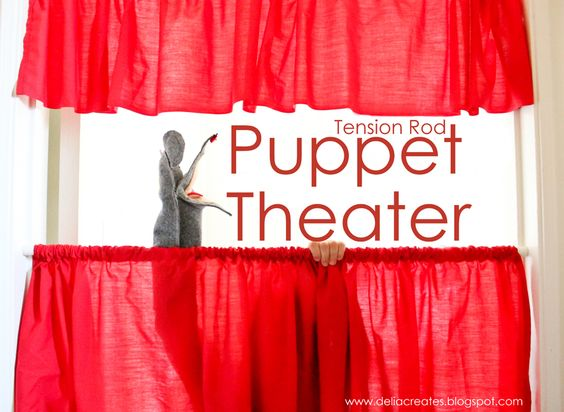 delia creates: Red: Tension Rod Puppet Theater using fabric, tension rods, and a door frame!