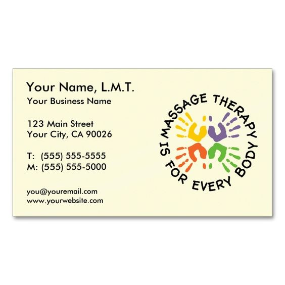 Massage Therapy Business Cards. Make your own business card with this great design. All you need is to add your info to this template. Click the image to try it out!