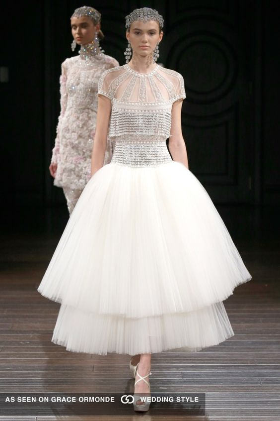 naeem khan 2017 spring bridal couture metallic bodice with matching headpiece tiered tulle pleated skirt