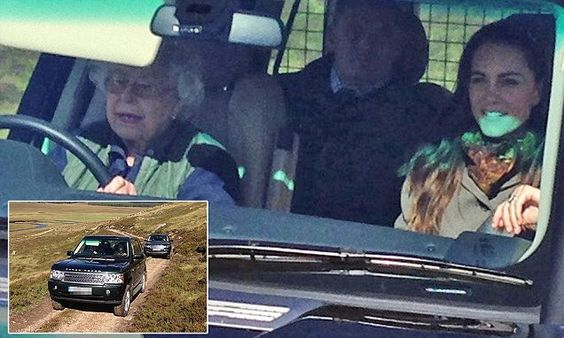 9/10/16*The Queen drove the Duchess of Cambridge to a picnic lunch with Prince William in the hills above Loch Muick on the Balmoral estate. Kate looked relaxed in the front passenger seat.