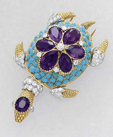 CARTIER Diamond, Amethyst, and Turquoise 'Turtle' Clip, circa 1950.:
