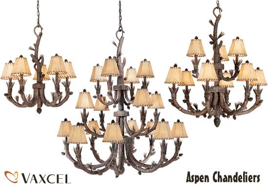 Vaxcel Aspen Chandeliers Whimsical Lighting For Your Log Cabin